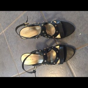 Tahari sandals. Black with gold studs. Size 7.5